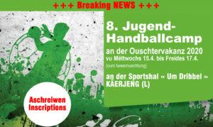 8. Editioun vum Jugend-Handball Camp vum HBK – Umeldungen ab elo !
