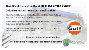 Ech ⛽️ tanken zu Käerjeng op der GULF Statioun an ënnerstëtzen domat den HBK