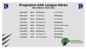 Programm AXA League Hären Saison 2020-2021 (aller)